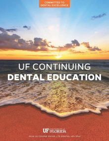 cover of course guide with photo of blue sky and orange sand, with the tide rolling in - Committed to Dental Excellence