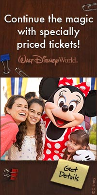 continue the magic with specially priced tickets (image of two girls taking a photo with Mini Mouse)
